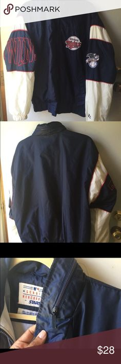Vintage MINNESOTA Twins STARTER JACKET with hoodie Vintage MINNESOTA Twins STARTER Windbreaker JACKET with hoodie. In excellent vintage condition.  Size: Medium   Brand: STARTER   Team: MINNESOTA Twins MLB Starter Jackets & Coats