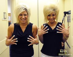 Can you tell who is who? Kelly dressed up as Long Island Medium, Theresa Caputo.  To see more go to: http://www.dadt.com/live/special/halloween/12/  #LIVEHalloweenParty