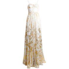 alice + olivia Yarra Bustier Flare Pleat Maxi Dress ($675) ❤ liked on Polyvore