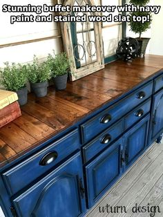 Awesome 50 Blue Kitchen Cabinets For Kitchen Looks More Incredible Repurposed Furniture Awesome blue Cabinets Incredible kitchen Refurbished Furniture, Repurposed Furniture, Furniture Makeover, Blue Painted Furniture, Painted Buffet, Painted Tv Stands, Blue Painted Dressers, Painting Pine Furniture, Colored Dresser