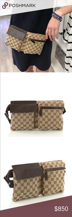 d8d0ec2e264 Gucci GG print double belt bag Authentic Gucci GG print double belt bag in  excellent used