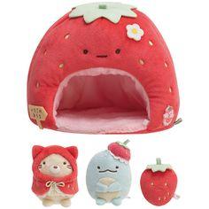 Sumikko Gurashi House Tenori mini Plush Doll Set Strawberry Fair San-X Japan Kawaii Plush, Cute Plush, Hello Kitty, Kawaii Room, Kawaii Accessories, Cute Stuffed Animals, Cat Room, Aesthetic Room Decor, Cute Toys