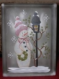 Designs by Cheryl Skalski-Packets & Glass Blocks - Decor DIY Christmas Glass Blocks, Christmas Art, Christmas Projects, Christmas Decorations, Christmas Signs, Christmas Pictures, Painted Glass Blocks, Lighted Glass Blocks, Hand Painted