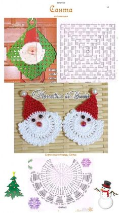 Learn to knit and Crochet with Jeanette: Father christmas Crochet Christmas Decorations, Crochet Decoration, Crochet Christmas Ornaments, Christmas Crochet Patterns, Holiday Crochet, Santa Ornaments, Crochet Motifs, Crochet Diagram, Afghan Crochet Patterns