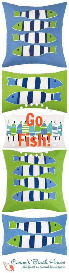 Fabulous bright green and blue colors with a simple whimsical design - these fish pillows will be an welcome pop of fresh design inside or outside! Lime Green Bedrooms, Bedroom Green, Florida Decorating, Fish Pillow, Seaside Style, Quilted Gifts, Nautical Design, Fish Art, Beach House Decor