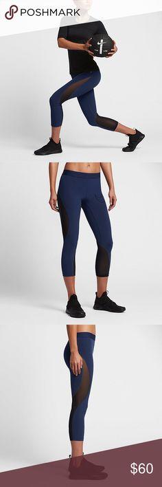 NWOT Nike Pro Hypercool Leggings ❧ New, never worn ❧ Sexy navy leggings with black mesh cut-outs  ❧ Reasonable offers accepted immediately Nike Pants Leggings