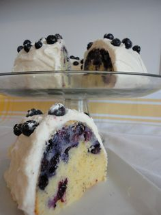Blueberry Cake with Cream Cheese Frosting. Oh my yummm =)