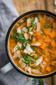 An easy and flavorful vegan red lentil soup with sweet potatoes, curry powder, and coconut . Make extra and freeze to eat throughout the week. Lentil Soup Recipes, Red Lentil Soup, Veg Recipes, Whole Food Recipes, Vegetarian Recipes, Healthy Recipes, Party Recipes, Healthy Cooking, Dinner Recipes