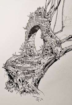 """day 10 - The Haunted Portal 👻🍩 Ink Illustrations, Illustration Art, Ink Pen Drawings, Ink Pen Art, Art Watercolor, Environment Concept Art, Crayon, Art Sketchbook, Art Sketches"