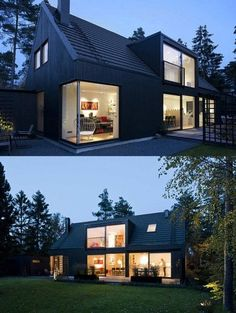 black scandinavian house with huge windows