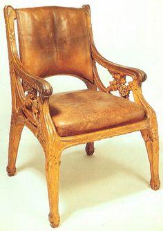 Art Nouveau Oak Chair (1900) by Georges Hoentschel, France