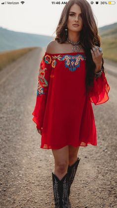 Embroidered dress Rodeo Outfits, Gypsy Style Outfits, Cute Cowgirl Outfits, Cowgirl Boots, Hipster Outfits, Country Western Outfits, Dresses With Cowboy Boots, Cute Outfits, Fashion Outfits