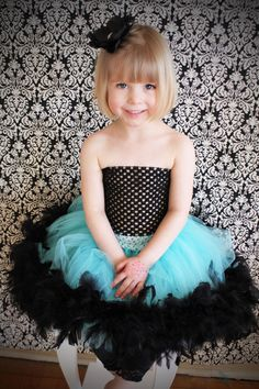 Feather Tutu Skirt Black and Turquoise by FrostingShop on Etsy Tutus For Girls, Girls Dresses, Flower Girl Dresses, Party Dresses, Flower Girls, Tulle Tutu, Tulle Dress, Baby Tutu, Baby Dress