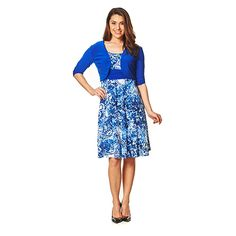 Perceptions Paisley/Solid Jacket Dress