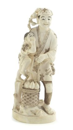 Description: A Japanese Carved Ivory Figural Group, depicting a smiling man with a child and a basket of peaches, having tea-stained decoration, raised on a rounded base having signature cartouche to the underside. Height 7 inches.