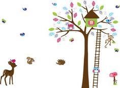 UfingoDeco Casa de Árbol de Dibujos Animados y Pequeño Animal Pegatinas de Pared, Mono de los Ciervos Encantadores y Búhos, Vivero Habitación de los Niños Removible Etiquetas de la pared / Murales, http://www.amazon.es/dp/B00J5708TC/ref=cm_sw_r_pi_awdl_OYQ4tb0NXPH8J