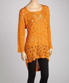 Look what I found on #zulily! Rust Crochet Linen-Blend Tunic by Pretty Angel #zulilyfinds