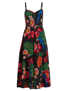 VALENTINO  Tropical Dream-Print Silk Crepe de Chine Dress