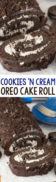 Cookies n Cream Oreo Cake Roll - an easy chocolate cake roll recipe filled with Oreo whipped cream! Everyone loves this cake, especially with the chocolate ganache on top!