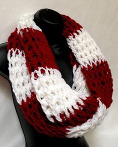 Unisex Crochet Infinity Scarf. Red and White on Wanelo