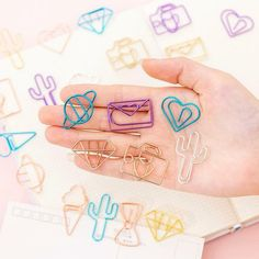 Includes 10 Paper Clips Book Markers, Page Marker, Kawaii Design, Metal Paper Clips, Cute Stationary, Kawaii Stationery, Paper Hearts, Office And School Supplies, Cute Designs