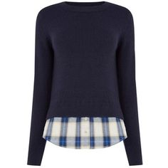 Oasis Check Shirt Tails Jumper, Navy