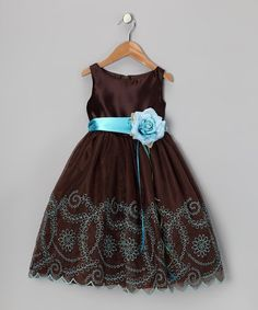 Take a look at this Chocolate Embroidered Flower Dress - Toddler & Girls by Kid's Dream on #zulily today!