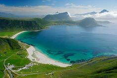 Lofoten, Northern Norway. By Patricia Flakstad.She looks down to Haukeland beach and Wiik beach  on. Vestvågøy