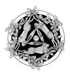 three hares black ink by Dru Marland Rabbit Tattoos, Rabbit Art, Rabbit Drawing, Bunny Art, Bunny Pics, Medieval Art, Celtic Designs, Pyrography, Ink Art
