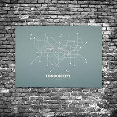 London City C4 - Acrylic Glass Art Subway Maps (Acrylglas, Tube, Underground)