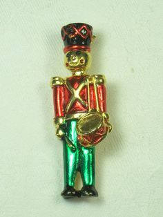 Vintage Christmas Pin Drummer Boy Holiday Brooch   by LavenderGardenCottag