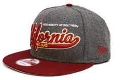 NEW ERA USC Trojans Scripter 2 9Fifty Snapback    Grey / Red / White / Yellow    This 9FIFTY cap features an embroidered (raised) USC Trojans script team namesake at front, a stitched New Era flag at wearer's left side, and a stitched team logo at wearer's right side. A snapback closure for an adjustable fit. Interior includes branded taping and a moisture absorbing sweatband.  New Era flag may vary in color with the image featured on site.    100% Wool.