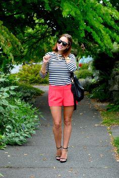 bubblegum pink shorts and stripes