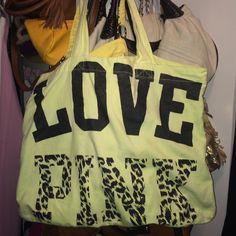 Victoria's Secret pink tote yellow Smoke free pet free home. Cleaning out. PINK Victoria's Secret Bags Totes