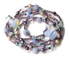 Multistrand Ice Blue Mauve Sparkling Necklace Triple strand