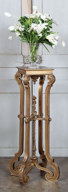 Antique French Louis XIV Giltwood Pedestal   Antique Accessories   Inessa Stewart's Antiques. #antiques, #furniture, #french