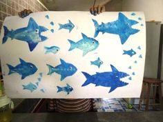 Shark stencil art project