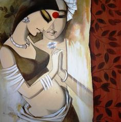 Buy Priy artwork number a famous painting by an Indian Artist Kamal Devnath. Indian Art Ideas offer contemporary and modern art at reasonable price. Indian Folk Art, Indian Artist, Krishna Painting, Krishna Art, Rajasthani Painting, Composition Painting, Indian Art Paintings, Buddha Art, Online Painting
