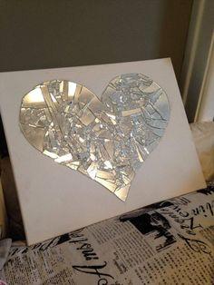 Broken mirror art Supplies needed mirror hot glue gun and hot glue canvas hammer and sheet Broken Mirror Diy, Broken Mirror Projects, Broken Glass Crafts, Broken Glass Art, Shattered Glass, Mirror Mosaic, Mirror Art, Diy Mirror, Mosaic Art