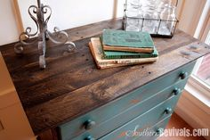 "Southern Revivals...Pallet Topped Chest of Drawers...""Ever have a perfect piece of furniture with a not so perfect top?  Solution - top with pallet wood.  It stains beautifully if you just do this..."""