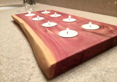 Live Edge Aromatic Cedar Handcrafted Tea Light Candle Holder with 8 Candles