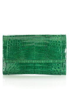 Nancy Gonzalez Large Crocodile Bar Flap Clutch
