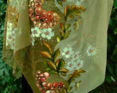 Items similar to Scarf. on Etsy Beneficios Aloe Vera, Monochrome, Wedding Dress Accessories, Silk Shawl, Satin Flowers, Fabric Painting, Flower Brooch, Shawls And Wraps, Embroidered Flowers