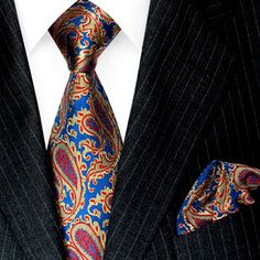 Lorenzo Cana, Blue Gold Rose Paisley Tie