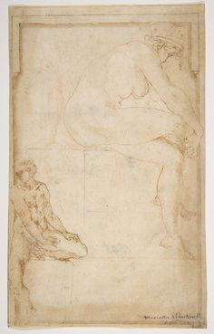 circle of Rosso Fiorentino | Two Figures in an Architectural Setting: A Female Nude Seated in a Profile View and a Seated Male Nude in a Three-Quarter View with the Left Leg Bent | The Met