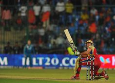 Royal Challengers Bangalore batsman AB DeVilliers hits a six during the IPL Twenty20 cricket match between Royal Challengers Bangalore (RCB) and Pune Warriors (PW) at the M. Chinnaswamy Stadium in Bangalore on April 17, 2012.