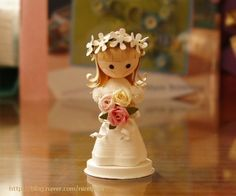 Quilled Bride Doll! can make out of clay pot