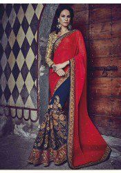 Bewitching red and blue georgette party wear designer saree