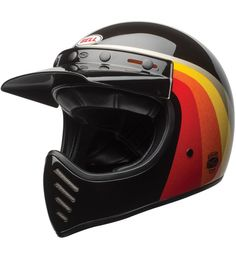 The #bell #moto3 #chemicalcandy black & gold helmet is serious retro cool with removable peak
