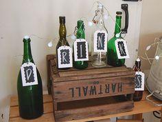 DIY- Drinkkibaarin kyltti pulloista - Pompom.fi • Juhlat on katettu Wine Rack, Bottle, Storage, Diy, Furniture, Home Decor, Purse Storage, Decoration Home, Bricolage